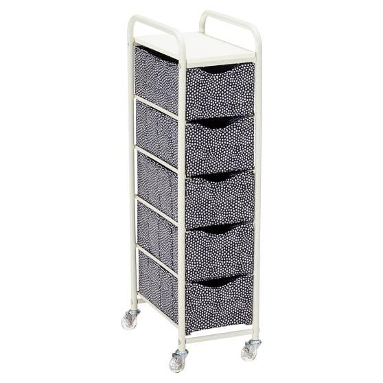Ready-To-Roll Storage Cart, 5-Drawer Tall, Black Mini Dot
