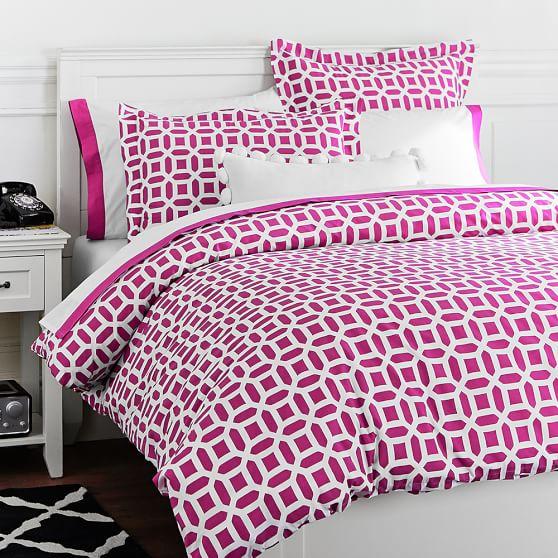 Peyton Duvet Cover, Twin, Pink Magenta