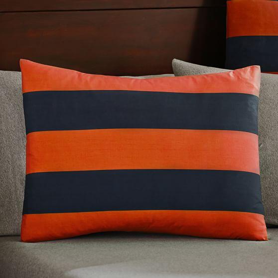 Rugby Stripe Standard Sham, Navy/Orange