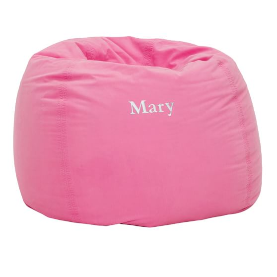 Bright Pink Washed Twill Large Beanbag Slipcover + Beanbag Insert