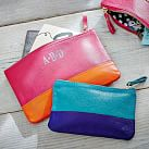 Caroline Leather Pouch, Small, Pink/Orange