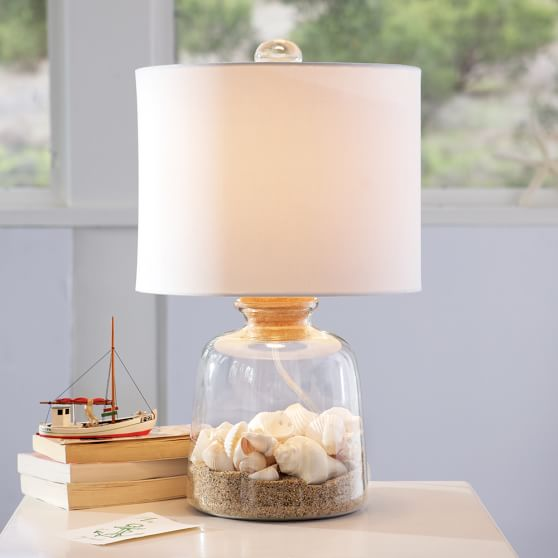 Bottle-It-Bedside Lamp Base + White Drum Shade