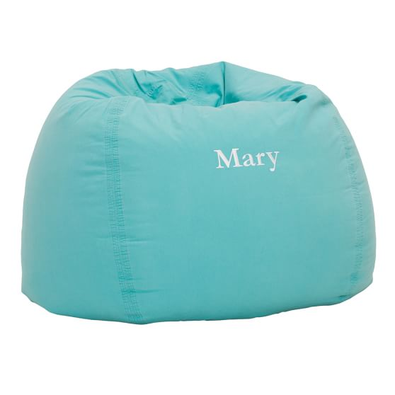 Washed Twill Beanbag Cover, Large, Pool Blue