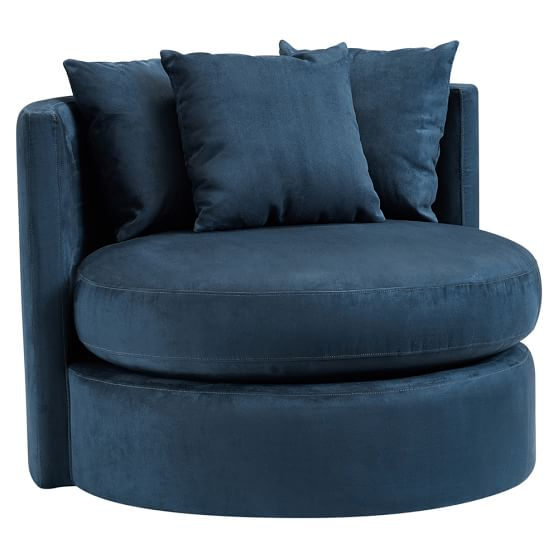 Round About Chair, Navy Faux Suede