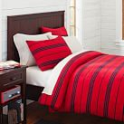 Fleece Duvet Cover, Twin, Stripe Red