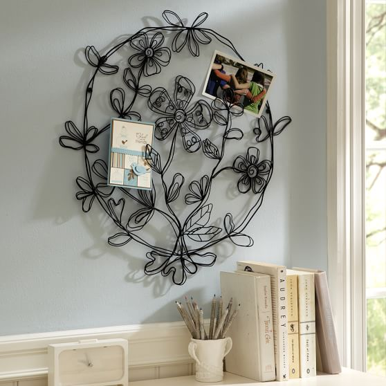 Boho Floral Round Wire Wall D Cor Black PBteen