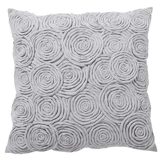 Rose Twist Pillow Cover, 16x16 Rose Twist Gray
