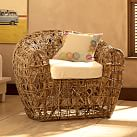 Wicker Pod Chair + White Cushion