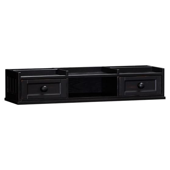 Beadboard Small Desk Hutch, Artisanal Black