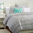 Ruched Quilt, Twin, Light Gray