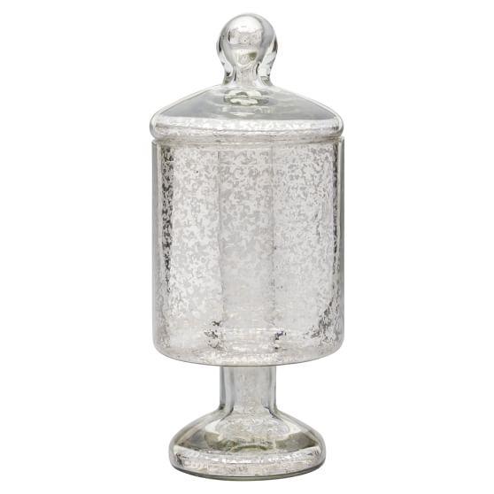 Mercury Glass Small Lidded Jar