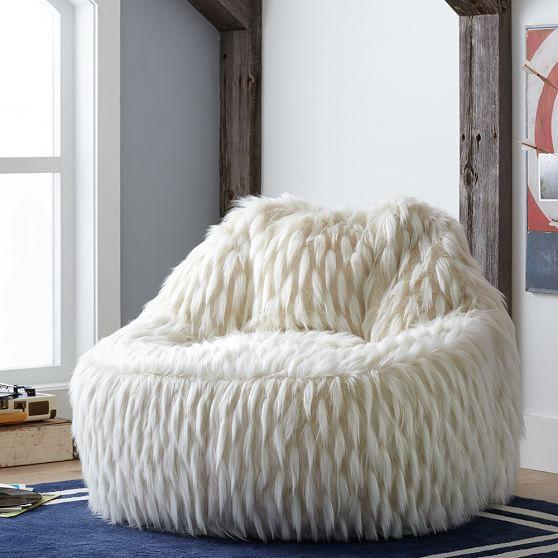Winter fox faux fur leanback lounger pbteen - Leanback lounger chairs ...
