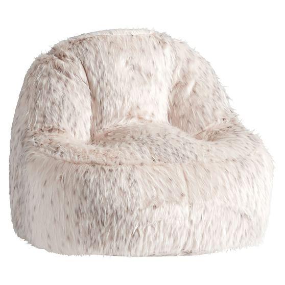 Snow cat faux fur leanback lounger pbteen - Leanback lounger chairs ...