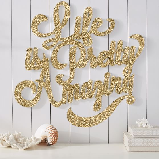 Wall Decor With Glitter : Life is pretty amazing wall art glitter pbteen
