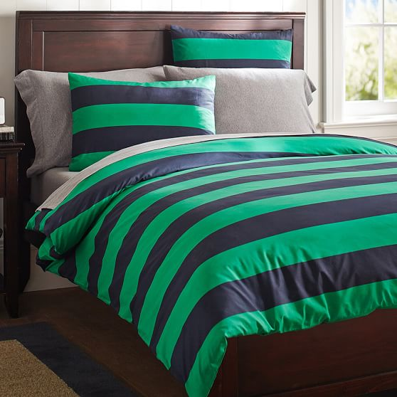 Rugby Stripe Duvet Cover Sham Navy Bright Green Pbteen