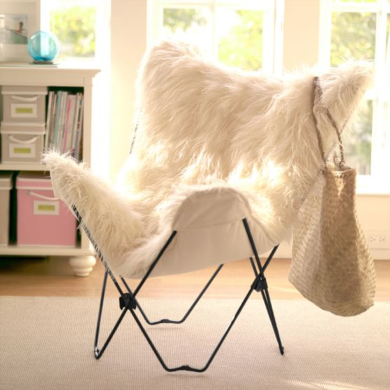 Ivory Furlicious Faux Fur Butterfly Chair