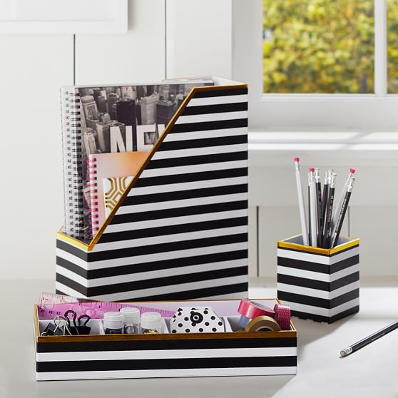 Printed Desk Accessories Black White Stripe With Gold
