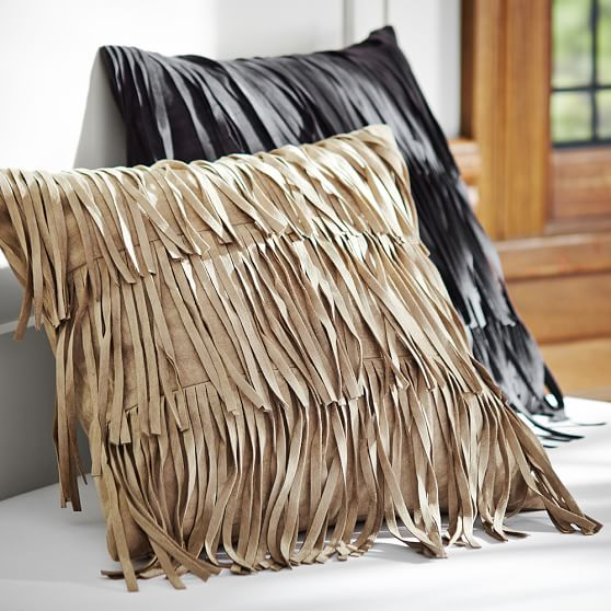 Black Throw Pillows With Fringe : Fab Fringe Pillow Cover PBteen
