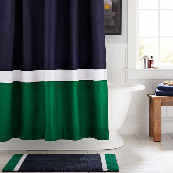 Color Block Shower Curtain Navy Green PBteen