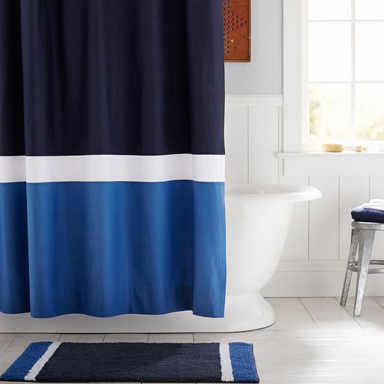 Color Block Shower Curtain Guy Navy Blue PBteen