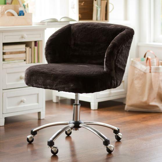 Luxe Faux Fur Wingback Desk Chair