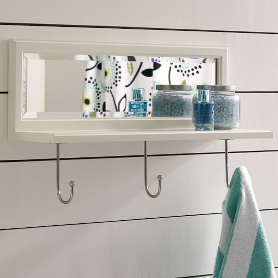 Bathroom Cubby Shelf: Mirrored Shelf + Cubby Hook