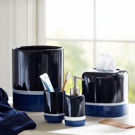 Color block bath accessories pbteen for Decor bath accessories