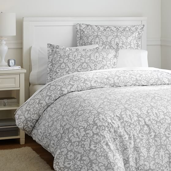 Damask Duvet Cover Sham Light Gray Pbteen
