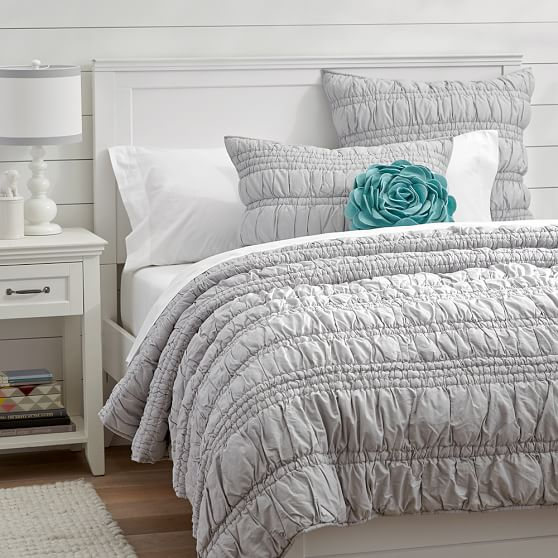 Ruched Quilt Sham Light Gray Pbteen