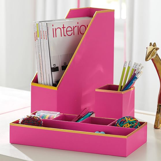 Printed Paper Desk Accessories Set Solid Pink With Gold
