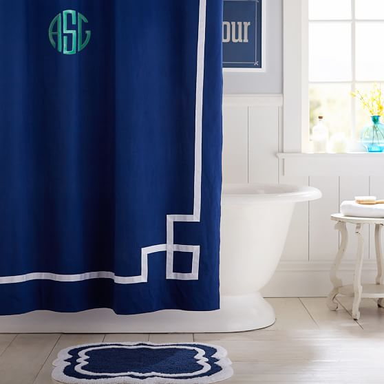 Emma Ribbon Trim Shower Curtain Royal Navy
