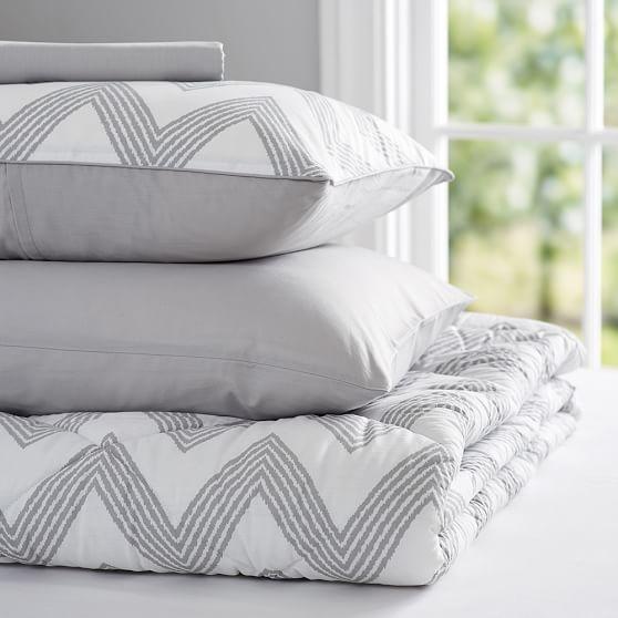 zig zag stripe value comforter set light gray pbteen. Black Bedroom Furniture Sets. Home Design Ideas