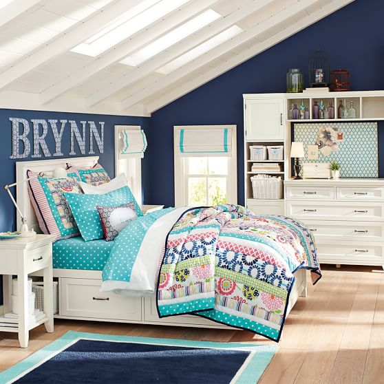 seaside floral quilt sham pbteen. Black Bedroom Furniture Sets. Home Design Ideas
