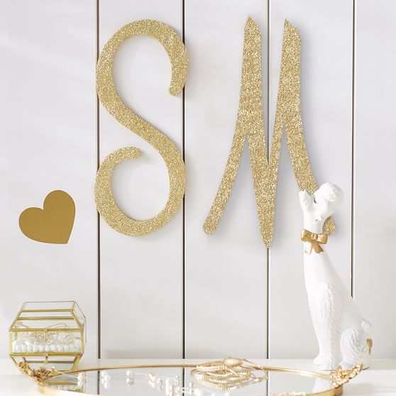Glitter wood letters pbteen for Sparkly wooden letters