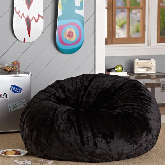 Black Luxe Faux Fur Beanbag Pbteen