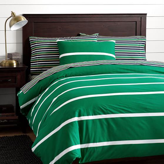 Boathouse Stripe Duvet Cover Sham Bright Green Pbteen