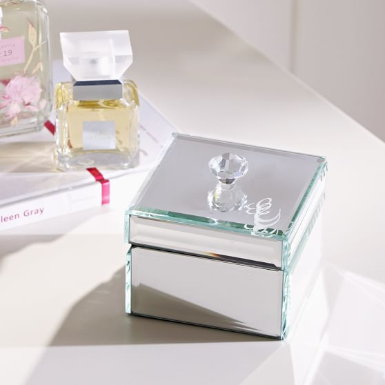 Mirrored small jewelry box pbteen for Mirror jewellery box
