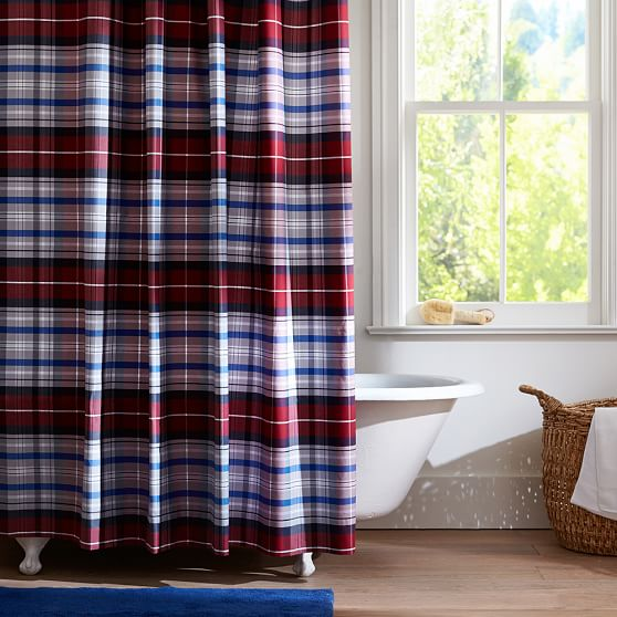 Portsmith Plaid Shower Curtain Red Pbteen