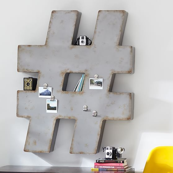 Industrial wall decor pbteen for Bathroom decor hashtags