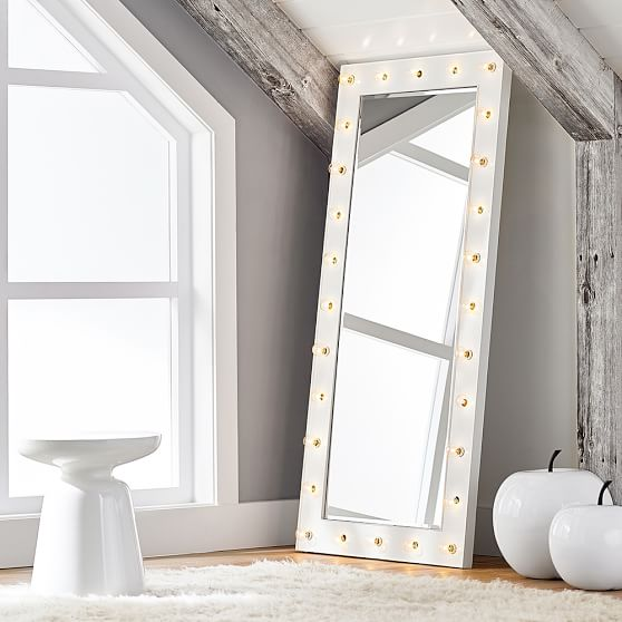Marquee light mirrors pbteen for Floor length mirror for sale