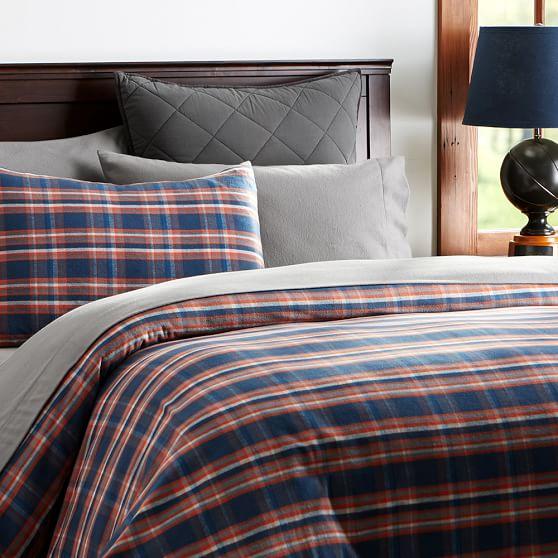 Fireside Plaid Flannel Duvet Cover Sham Pbteen