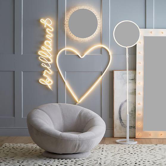 heart neon wall light pbteen. Black Bedroom Furniture Sets. Home Design Ideas