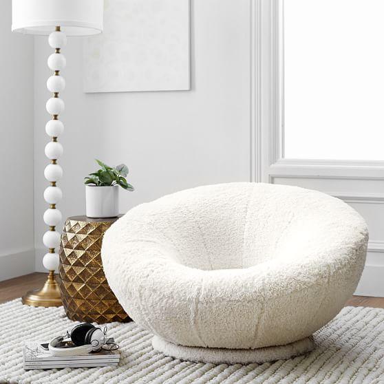 Ivory Sherpa Faux Fur Groovy Swivel Chair Pbteen