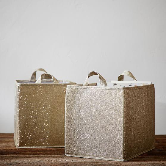 The emily meritt glitter storage bin pbteen for Gold bathroom bin