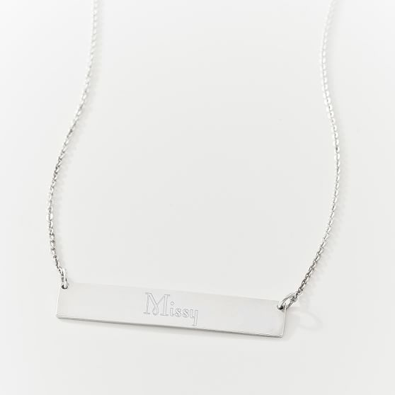 Bar Id Necklace, Silver