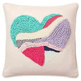 Textured Heart Pillow Cover J