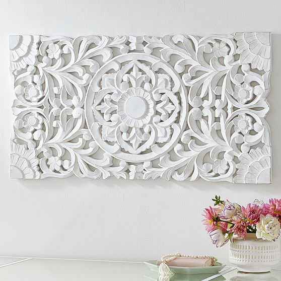 Wood Scroll Wall Decor : Lennon maisy ornate wood carved wall art set of pbteen