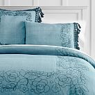 Lennon & Maisy Embroidered Tassel Duvet Cover, Twin, Chambray