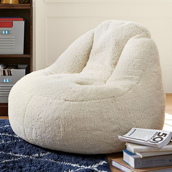 Ivory sherpa faux fur leanback lounger pbteen - Leanback lounger chairs ...