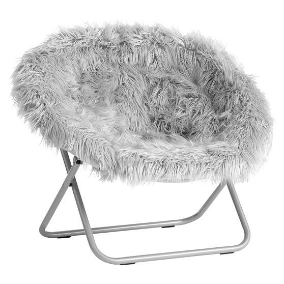 gray fur rific hang a round chair pbteen. Black Bedroom Furniture Sets. Home Design Ideas